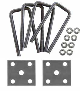 "Trailer U-Bolt Kit For 2"" Square Axle - 1-3/4"" Spring - Raw Finish"