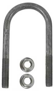 "Trailer Axle U-Bolt 3"" Round - 7"" long - 9/16"" Diameter - Raw Finish"