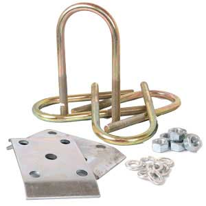 """Trailer U-Bolt Kit For 3"""" Round Axle - 1-3/4"""" to 2"""" Spring - Zinc Finish"""
