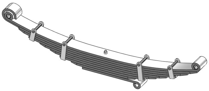 Leaf spring 50-124 fits Hendrickson trucks. Replaces OEM leaf spring part number 82701.